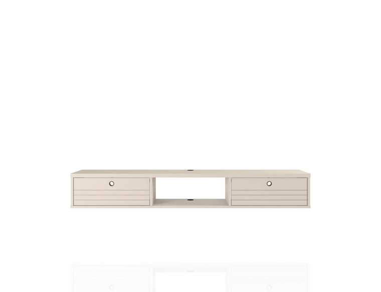 Manhattan Comfort Liberty 62.99 Mid-Century Modern Floating Office Desk with 3 Shelves in Off White