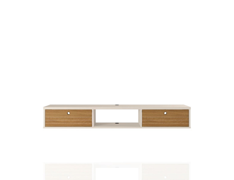Manhattan Comfort Liberty 62.99 Mid-Century Modern Floating Office Desk with 3 Shelves in Off White and Cinnamon
