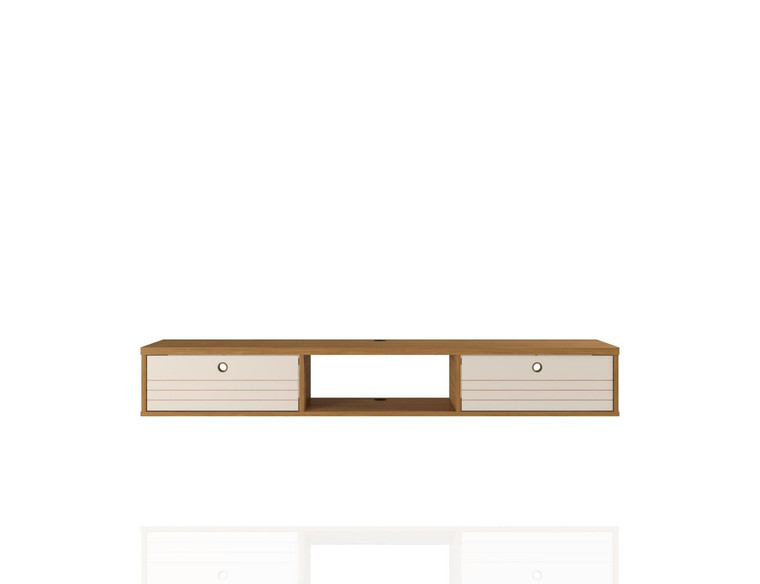 Manhattan Comfort Liberty 62.99 Mid-Century Modern Floating Office Desk with 3 Shelves in Cinnamon and Off White