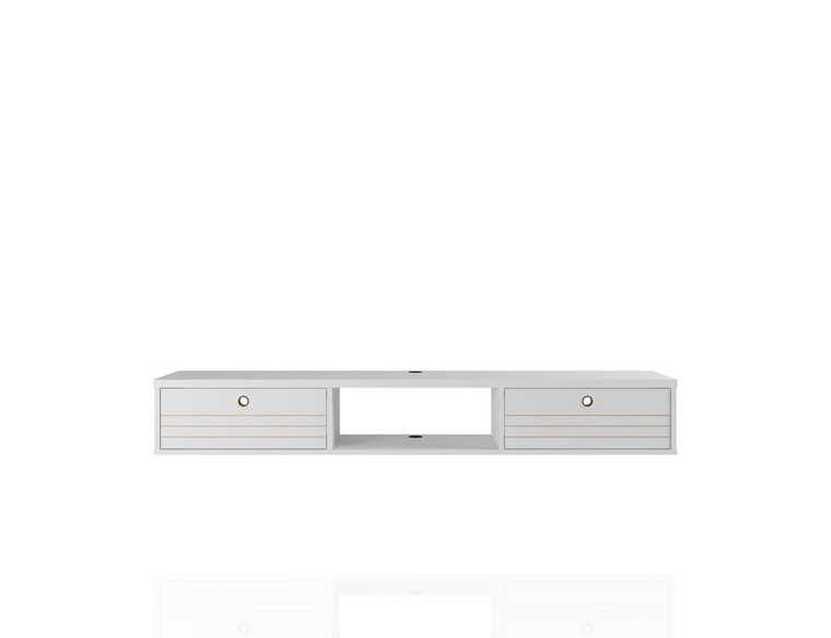 Manhattan Comfort Liberty 62.99 Mid-Century Modern Floating Office Desk with 3 Shelves in White