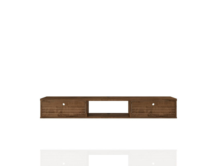 Manhattan Comfort Liberty 62.99 Mid-Century Modern Floating Office Desk with 3 Shelves in Rustic Brown