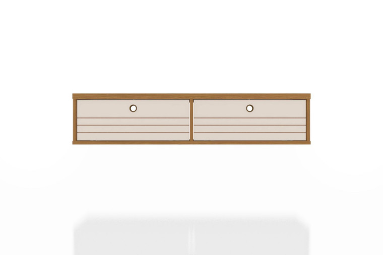 Manhattan Comfort Liberty 42.28 Mid-Century Modern Floating Office Desk with 2 Shelves in Cinnamon and Off White