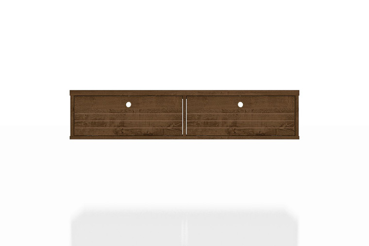 Manhattan Comfort Liberty 42.28 Mid-Century Modern Floating Office Desk with 2 Shelves in Rustic Brown