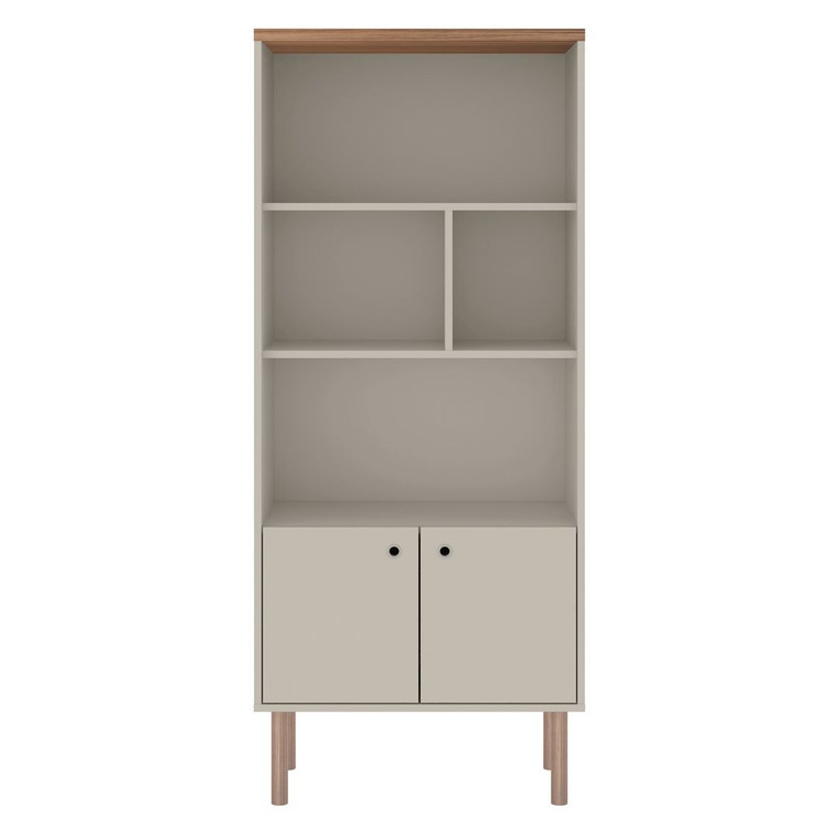Manhattan Comfort Windsor Modern Display Bookcase Cabinet with 5 Shelves in Off White and Nature
