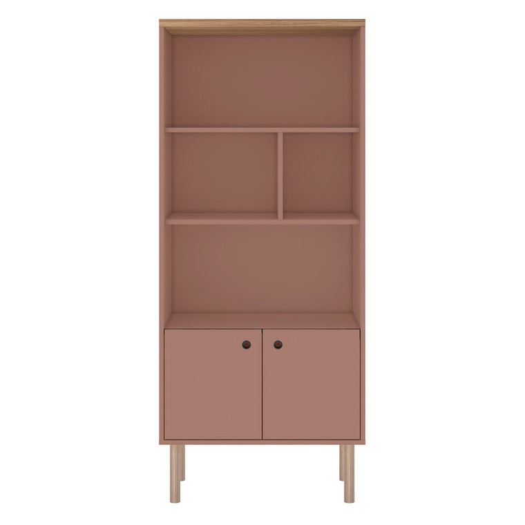 Manhattan Comfort Windsor Modern Display Bookcase Cabinet with 5 Shelves in Ceramic Pink and Nature