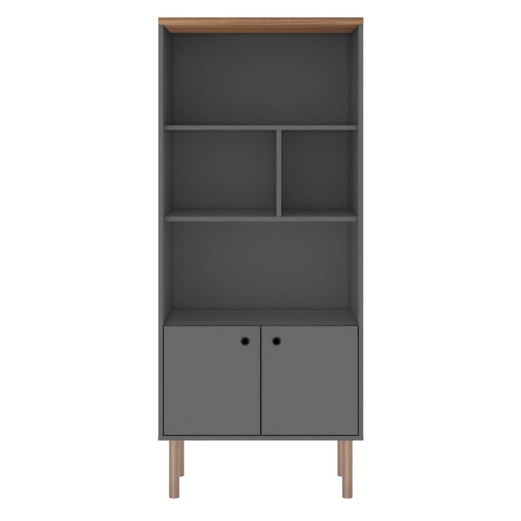 Manhattan Comfort Windsor Modern Display Bookcase Cabinet with 5 Shelves in Grey and Nature