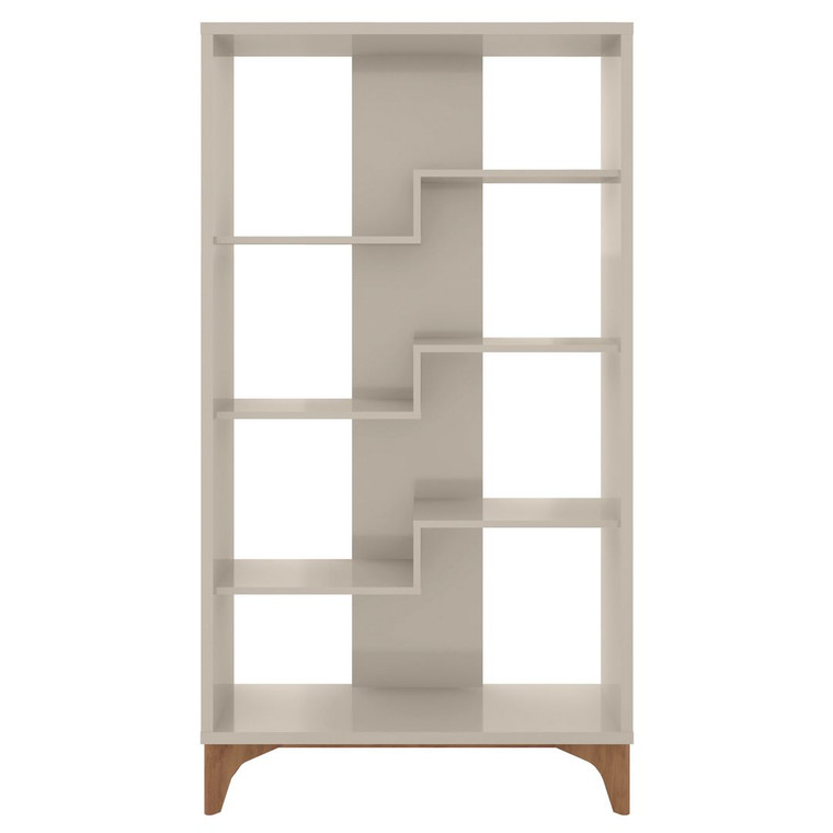 Manhattan Comfort Gowanus Geometric Modern Bookcase with 4 Shelves in Off White