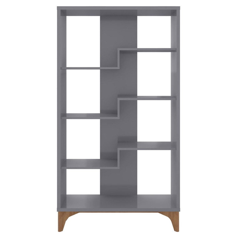 Manhattan Comfort Gowanus Geometric Modern Bookcase with 4 Shelves in Grey