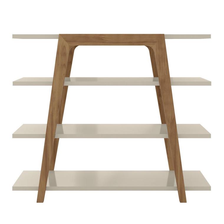 Manhattan Comfort Gowanus Geometric 47.24 Modern Ladder Bookcase with 4 Shelves in Off White