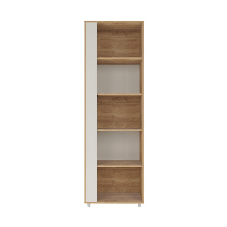 Manhattan Comfort Cypress Mid-Century- Modern Bookcase with 5 Shelves in Nature and Off White