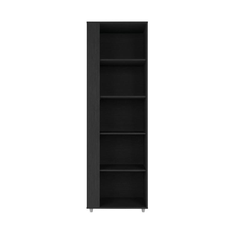 Manhattan Comfort Cypress Mid-Century- Modern Bookcase with 5 Shelves in Black