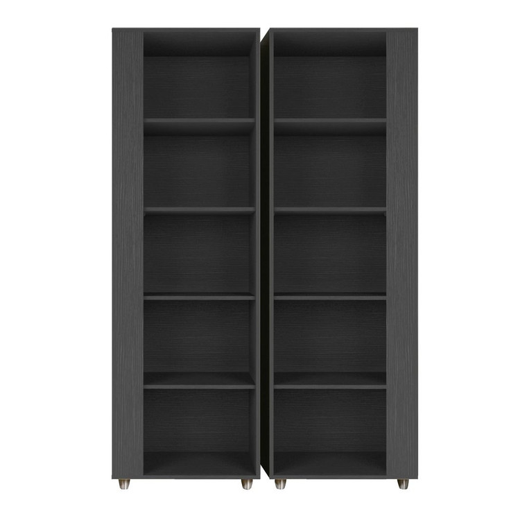 Manhattan Comfort Cypress Mid-Century- Modern Bookcase with 5 Shelves- Set of 2 in Black