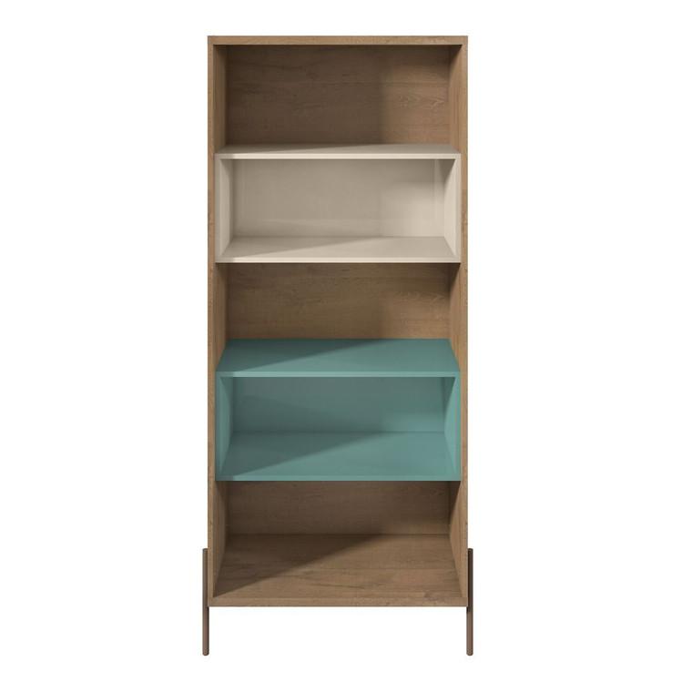 Manhattan Comfort Joy 5- Shelf Bookcase in Blue and Off White