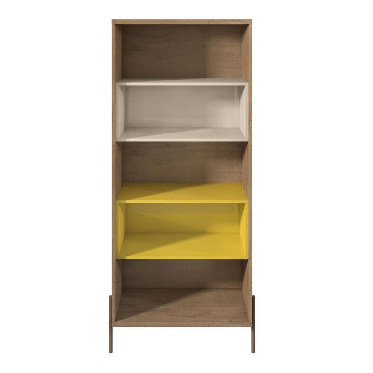 Manhattan Comfort Joy 5- Shelf Bookcase in Yellow and Off White