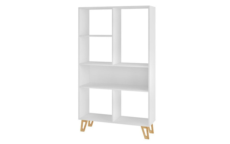Manhattan Comfort Doris 6-Shelf Mid-Century Bookcase in White