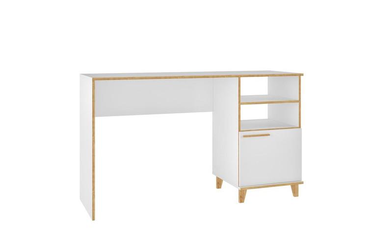 Manhattan Comfort Minetta 2-Shelf Mid-Century Office Desk in White