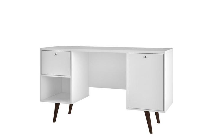 Manhattan Comfort Edgar 1-Drawer Mid-Century Office Desk in White
