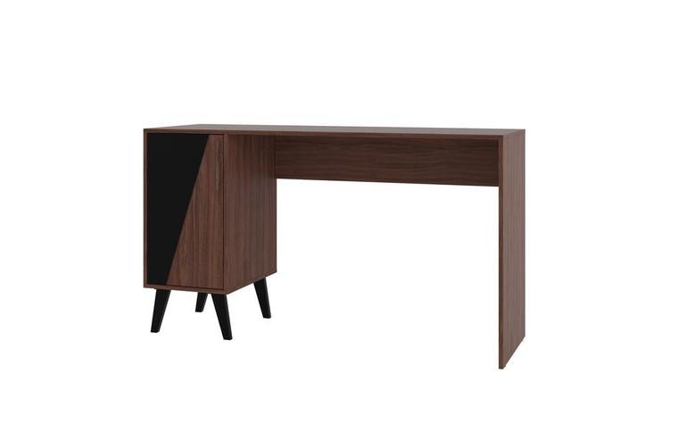 Manhattan Comfort Hogan 2- Shelf Mid-Century Office Desk in Dark Brown
