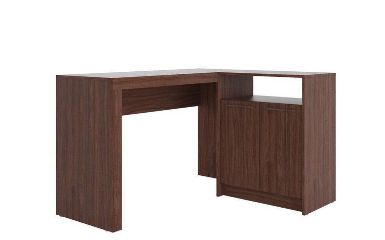 Manhattan Comfort Kalmar L -Shaped Office Desk with Inclusive in Dark Brown