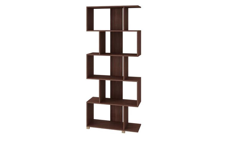 Manhattan Comfort Charming Petrolina Z- Shelf with 5 shelves in Nut Brown