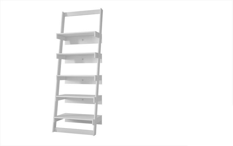 Manhattan Comfort Brilliant Carpina Ladder Shelf with 5- Floating Shelves in White