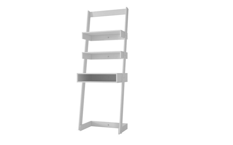 Manhattan Comfort Urbane Carpina Ladder Desk with 2 Floating Shelves and 1- Tabletop and Cubby in White