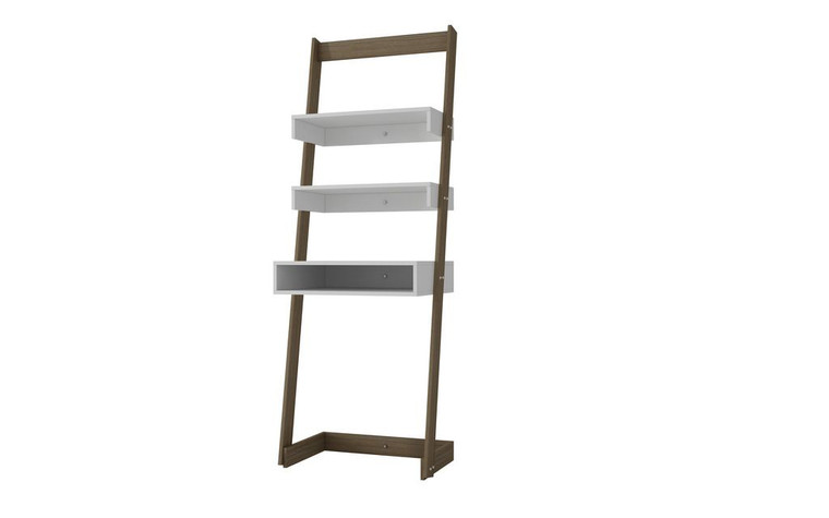 Manhattan Comfort Urbane Carpina Ladder Desk with 2 Floating Shelves and 1- Tabletop and Cubby in and Oak Frame and White Shelves