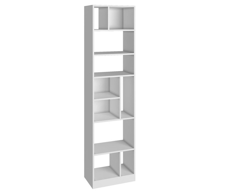 Manhattan Comfort Durable Valenca Bookcase 4.0 with 10- Shelves in White