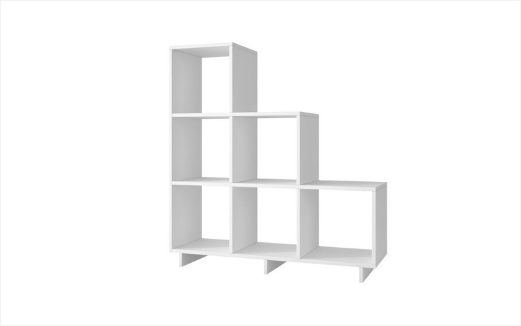 Manhattan Comfort Sophisticated Cascavel Stair Cubby with 6 Cube Shelves in White