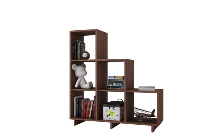 Manhattan Comfort Sophisticated Cascavel Stair Cubby with 6 Cube Shelves in Nut Brown