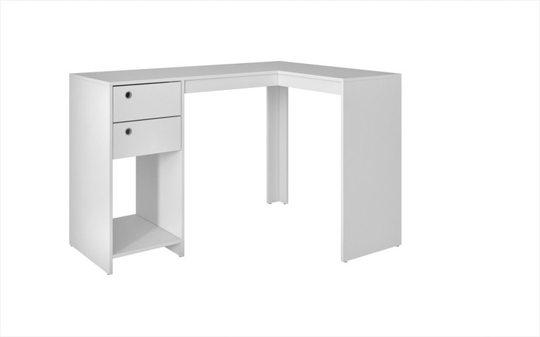 """Manhattan Comfort Modest Palermo Classic """"L"""" Shaped Desk with 2 Drawers and 1 Cubby in White"""