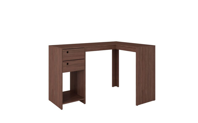 "Manhattan Comfort Modest Palermo Classic ""L"" Shaped Desk with 2 Drawers and 1 Cubby in Nut Brown"