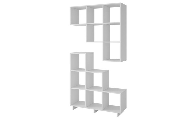 Manhattan Comfort Sophisticated Cascavel Stair Cubby with 6 Cube Shelves in White. Set of 2.