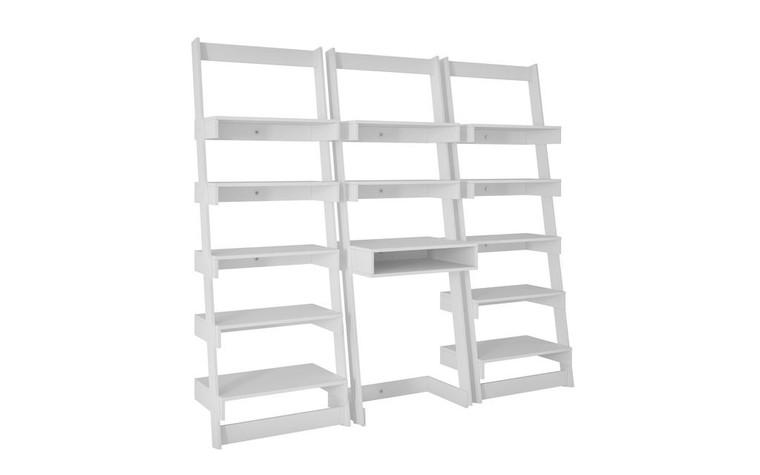 Manhattan Comfort 3 Piece Carpina Home Floating Ladder Shelf Office Desk in White