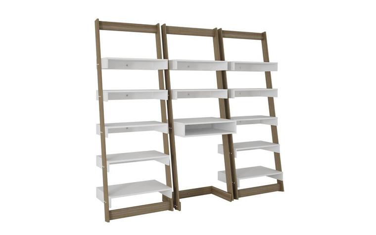 Manhattan Comfort 3 Piece Carpina Home Floating Ladder Shelf Office Desk in Oak and White