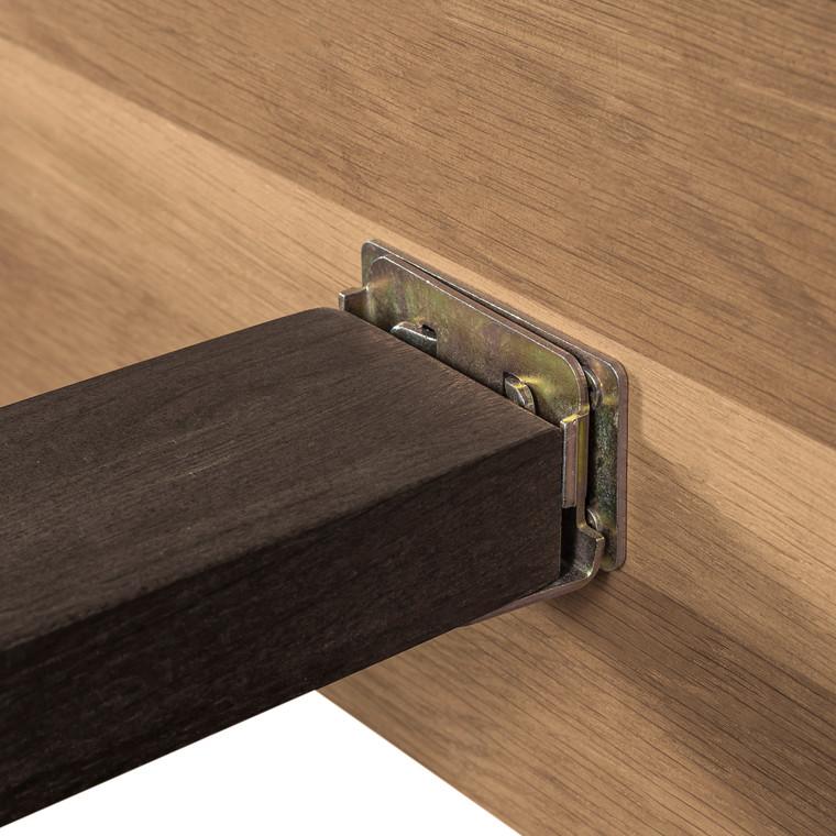 Coco Rustic Oak Wood Upholstered Leather King Platform Bed