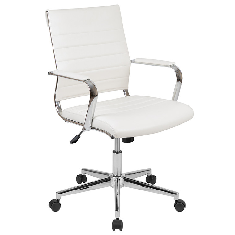 Work From Home Kit - White Adjustable Computer Desk, LeatherSoft Office Chair and Side Handle Locking Mobile Filing Cabinet [BLN-NAN219CHP595M-WH-GG]