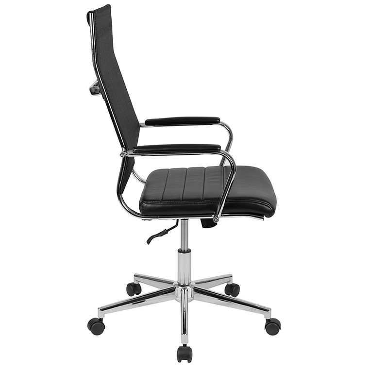 High Back Black Mesh Contemporary Executive Swivel Office Chair with LeatherSoft Seat [BT-20595H-3-BK-GG]