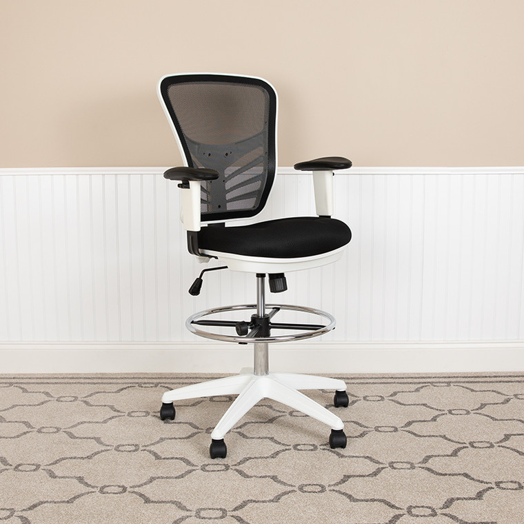 Contemporary Drafting Stool with Height Adjustable Padded Arms