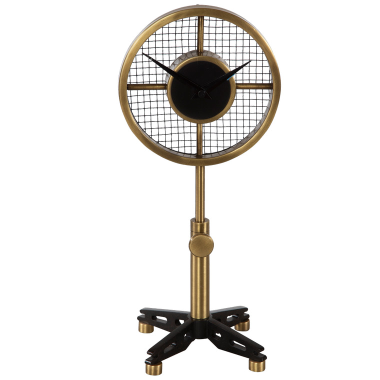 """Industrial Feel Table Clock Finished In Antique Brushed Brass And Matte Black. The Neck Is Adjustable From 12.5"""" To 14"""" In Height. Quartz Movement Ensures Accurate Timekeeping. Requires One """"AA"""" Battery."""