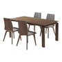 Treviso Mid-Century Walnut Wood 5 Piece Dining Set