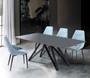 Urbino Contemporary Grey Glass 5 Piece Metal Dining Set