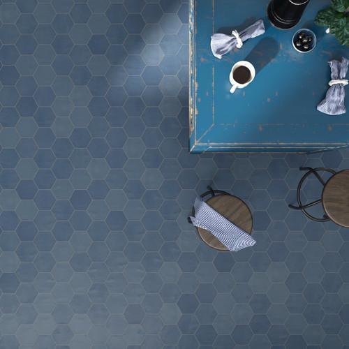 Blue Hexagonal Porcelain Tiles in Liverpool