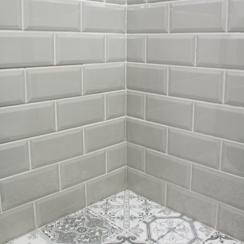 Grey Bevelled Gloss Brick Format Tiles in Liverpool