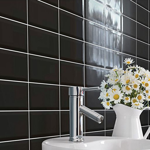 Black Bevelled Gloss Brick Format Tiles in Liverpool