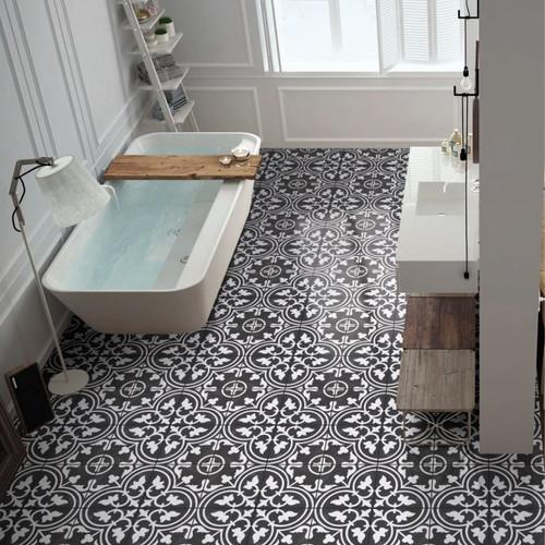Arte Black Patterned Porcelain Tile