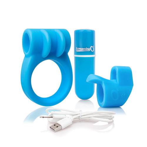 Screaming Charged Vibrator Kit in Blue