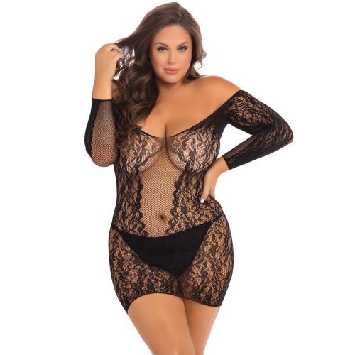 Demure Long Sleeve Mini Dress - Plus Size -  Front