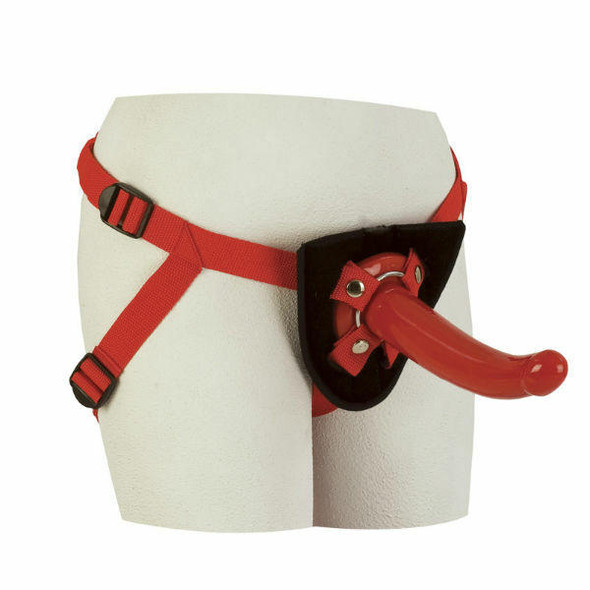 Red Rider Harness and Curved Dildo