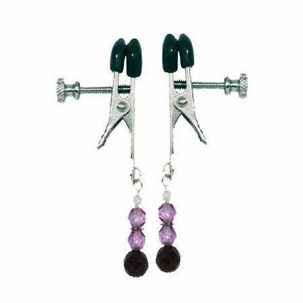 Jeweled Adjustable Nipple Clamps - Purple